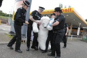 UK polar bear protests Shell